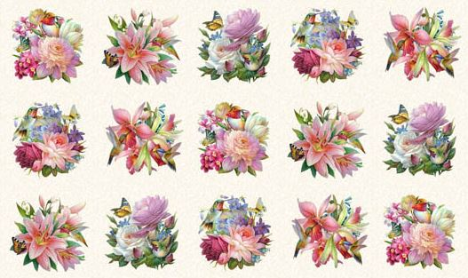 Panel Hummingbird Bouquet 9401
